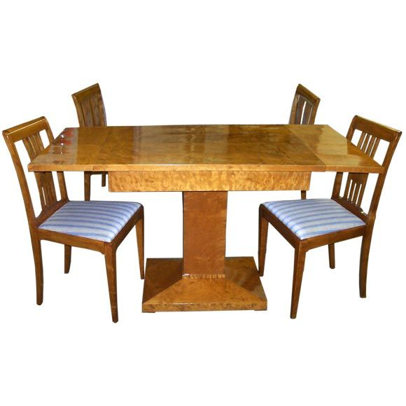 this vintage swedish birch dropleaf table with four side chairs is no