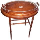 Antique Oak & Silverplate Tray on Stand