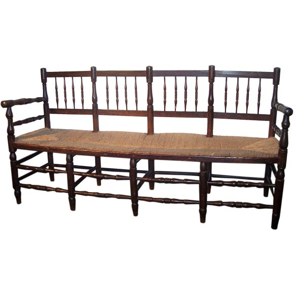 Antique French Spindle Back Rush Seat Bench At 1stdibs