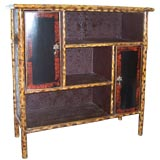 Antique  Bamboo Bookcase with Doors and Shelves.