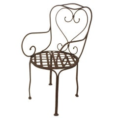 SIX Custom Hand-wrought French Steel Arm Chairs