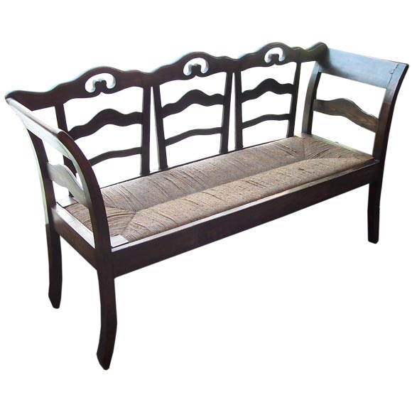 antique french rush seat bench at 1stdibs