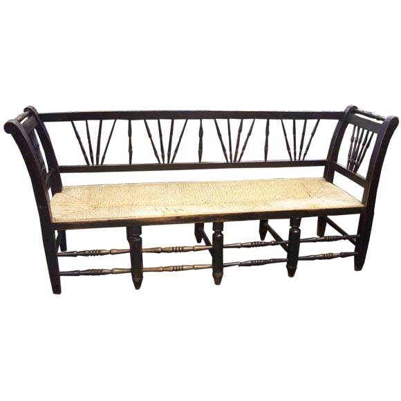 Antique French Black Rush Seat Bench At 1stdibs