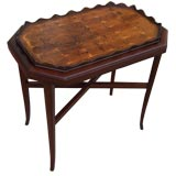 Antique Oyster Veneer Tray on New Stand