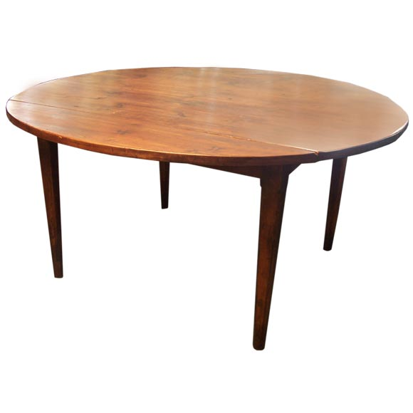 Antique round dark pine drop leaf table from france at 1stdibs for Pine dining room table
