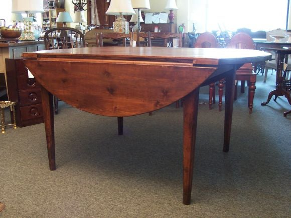 Antique Round Dark Pine Drop Leaf Table From France At 1stdibs