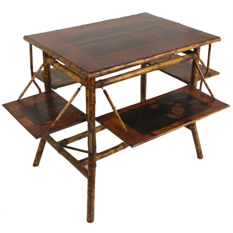 Antique Bamboo Supper Table With Four Side Shelves At 1stdibs