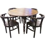 Antique Round Drop Leaf Table with Four French Deco Wood Chairs