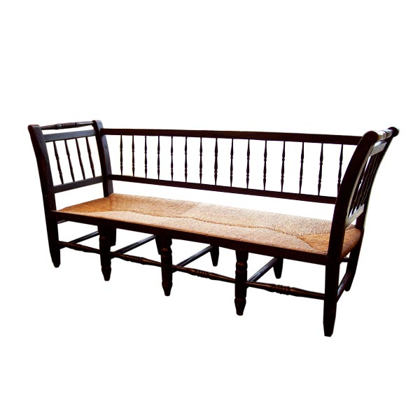 Antique French Black Spindle Bench At 1stdibs