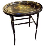 Antique Paper Mache Hand Painted Tray on New Stand