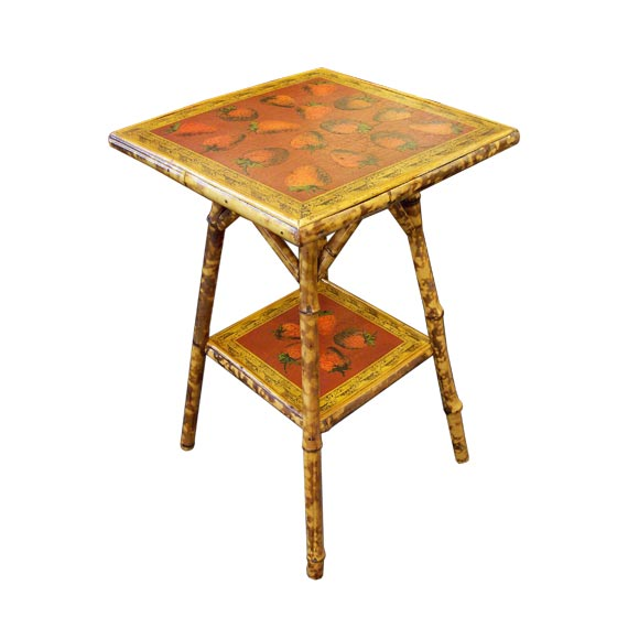 Bamboo Square Table: Antique Square Bamboo Table, Decoupaged With Strawberries