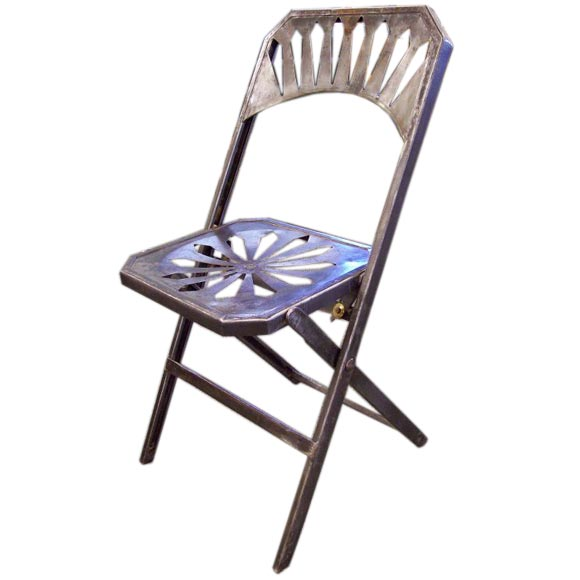 Set Of Six Antique French Steel Folding Chairs At 1stdibs