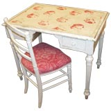 Painted desk with an applied vintage fabric and chair