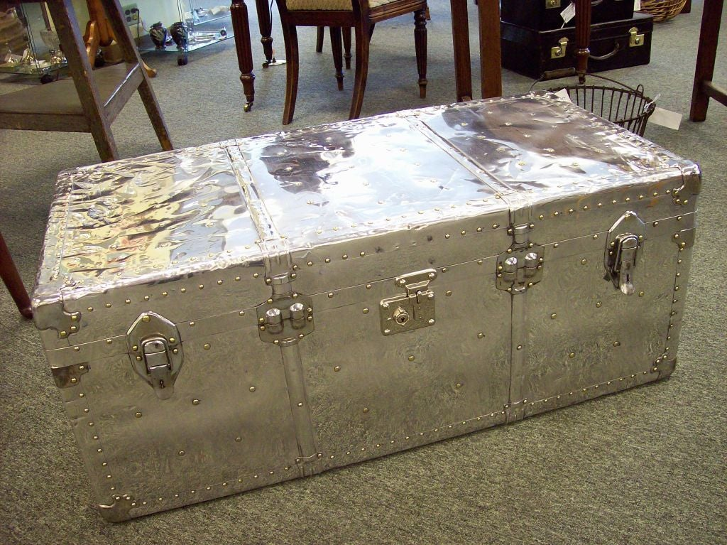 Vintage Aluminum Trunk From England. These Were Typically Used For Aircraft  Cargo Luggage, And