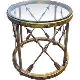 Vintage Brass & Glass End Table from a London Hotel