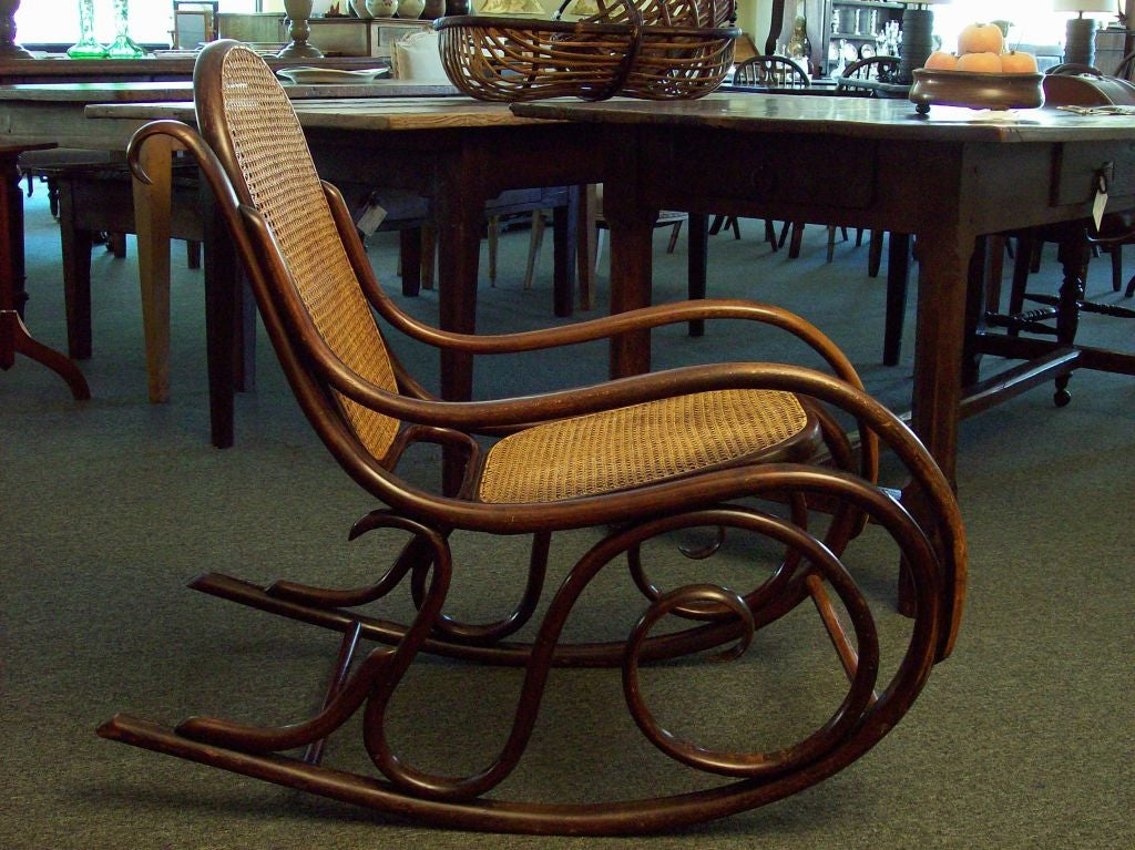 Antique Thonet rocker. The color of the bentwood is deep and has a lovely  patina - Antique Thonet Rocking Chair SALE At 1stdibs