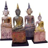 Collection of Four Antique Laotian Sitting Buddhas