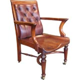PAIR of Antique English Mahogany Library Chairs