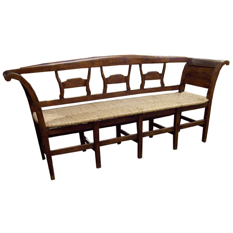 Antique French Rush Seated Bench At 1stdibs