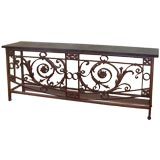 Antique French Grille Console Table, Marble Top