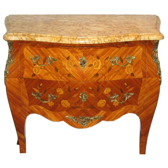 Louis XV Style French Marquetry Bombe Commode 1
