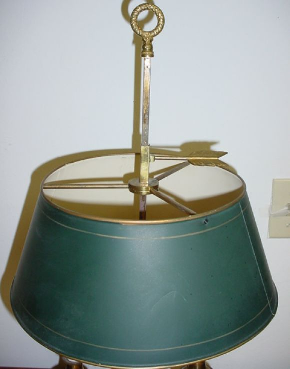 two arm bouillotte style table lamp with green metal shade at 1stdibs. Black Bedroom Furniture Sets. Home Design Ideas