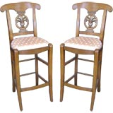 Pair of Upholstered French Bar Stools
