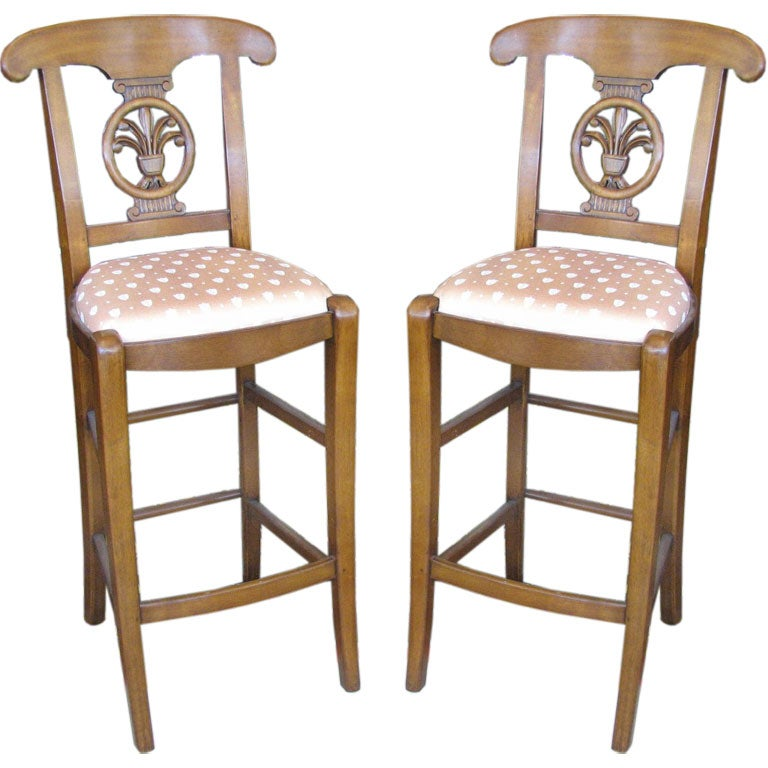 Pair Of Upholstered French Bar Stools At 1stdibs