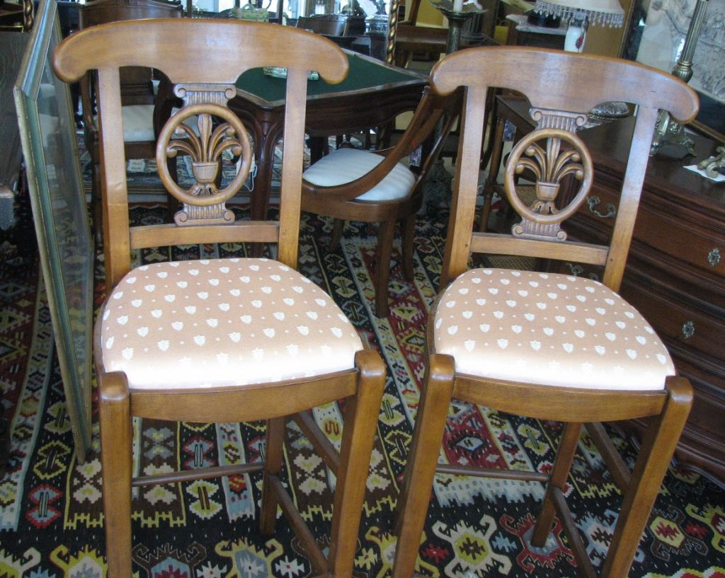 Pair Of Upholstered French Bar Stools At 1stdibs. Full resolution  image, nominally Width 1024 Height 817 pixels, image with #66492F.