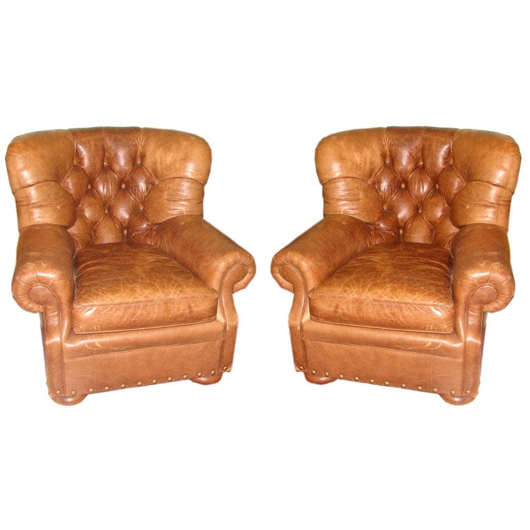 Pair of Tufted Leather Club Chairs By Ralph Lauren at 1stdibs