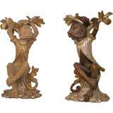 Pair of Hand-Carved and Handpainted Wooden Monkeys