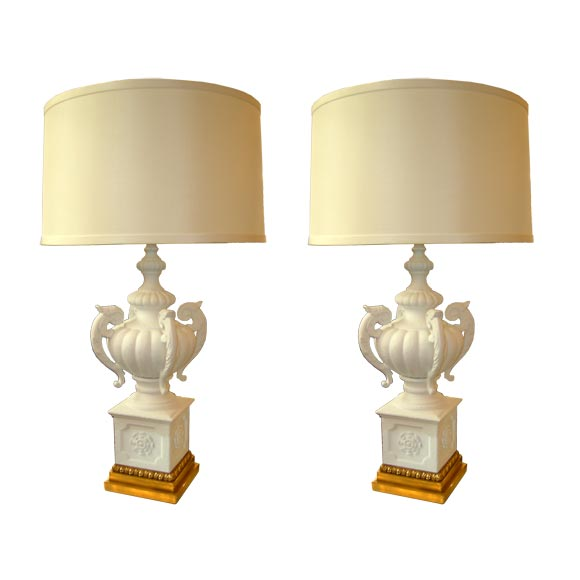 Pair of Italian Plaster Lamps