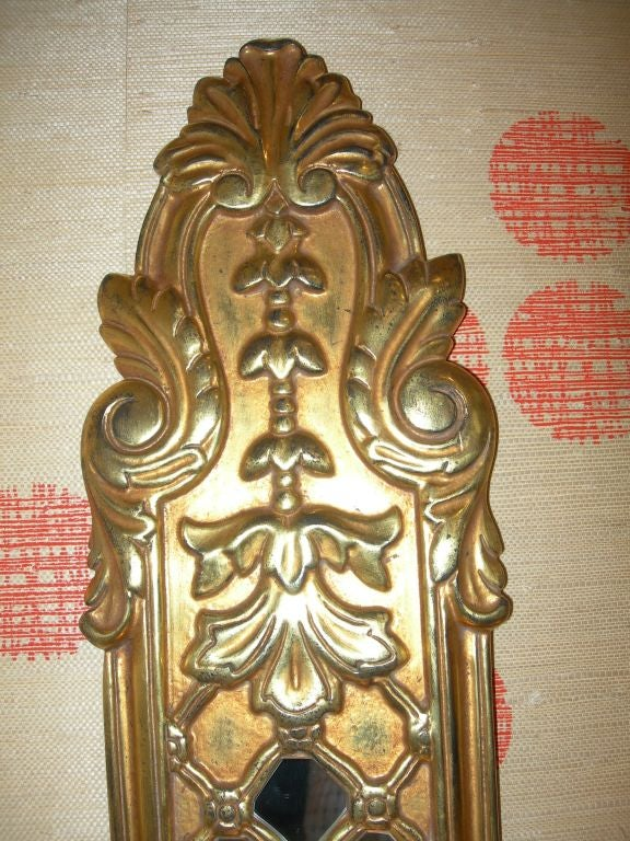Italian Carved Wood Gilt and Mirrored Sconces In Excellent Condition For Sale In Los Angeles, CA