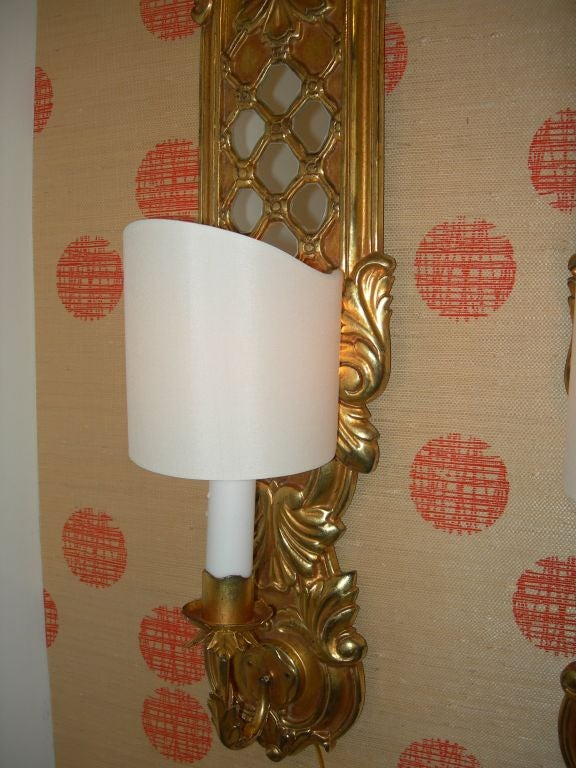 20th Century Italian Carved Wood Gilt and Mirrored Sconces For Sale