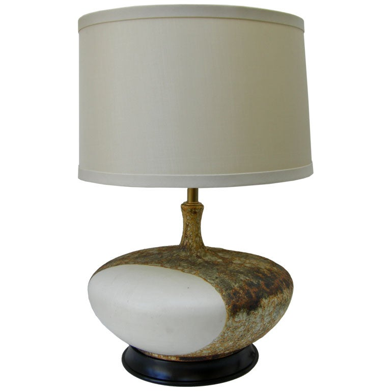 Pair Of Large Lava Glaze Table Lamps At 1stdibs