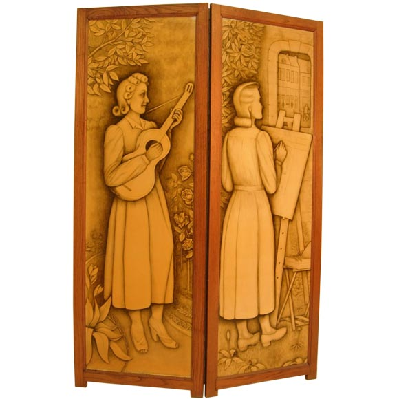 French Two Panel Reversible Screen