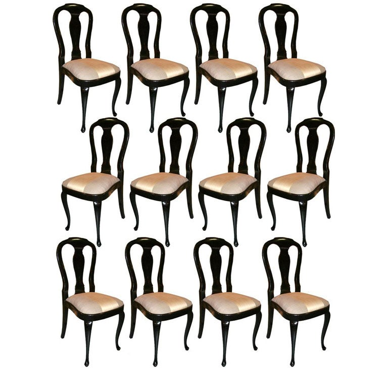 12 Queen Anne Style Black Lacquer Chairs At 1stdibs