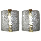 Two Pairs of Murano Glass Sconces by Leucos