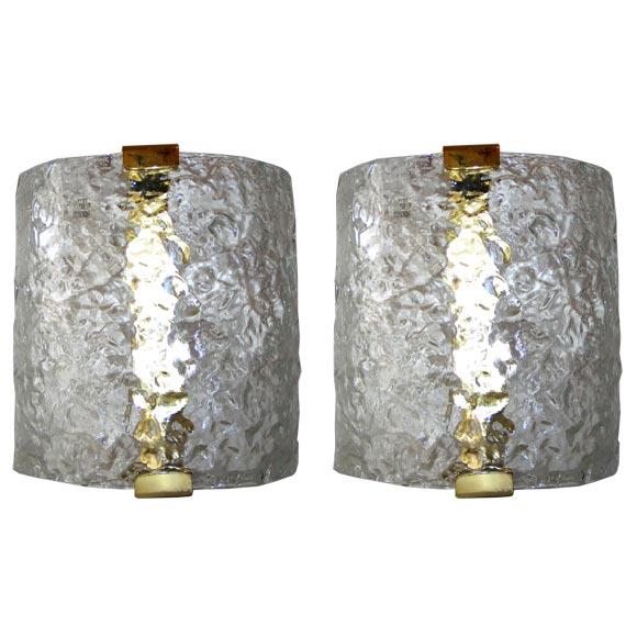 4 Italian Mid-Century Modern Murano / Venetian Glass Sconces by Leucos