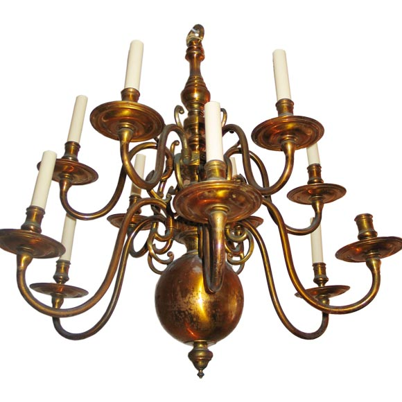 Italian Mid-century Modern Neoclassical Double Level Brass Chandelier, 1930