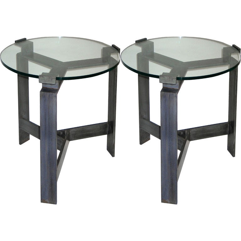 Pair French Mid-Century Style Bronzed Iron End Tables, Manner of Jacques Quinet