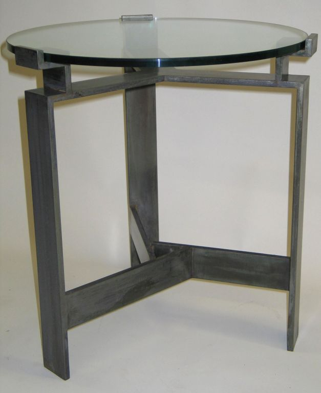 Hammered Pair French Mid-Century Style Bronzed Iron End Tables, Manner of Jacques Quinet For Sale
