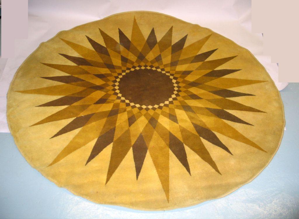Large Round Danish Mid Century Modern Sunburst Carpet By Hojer Eksport Wilton For Sale At 1stdibs