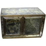 Antiqued Italian Mid-Century Mirrored Cabinet with Eight Interior Drawers