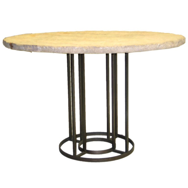 Good French Mid Century Modern Iron Circular Table Base In Manner Of Jean Royère  1