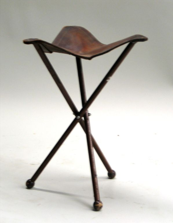 French 1940s Modern Neoclassical Iron And Leather Folding