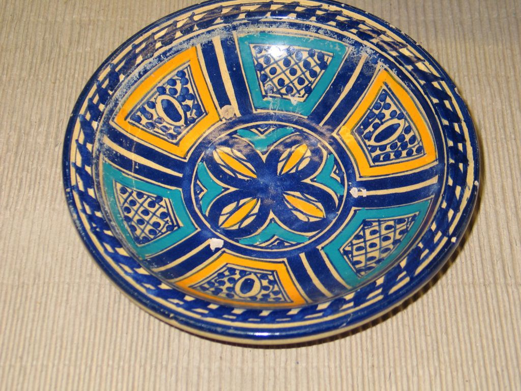 A Set of 3 Hand Painted Bowls from North Africa; Each Painted in Traditional Geometric Patterns with Vegetable Dyes. Useful on the Table or as Wall Decoration. $1250 Retail each piece.