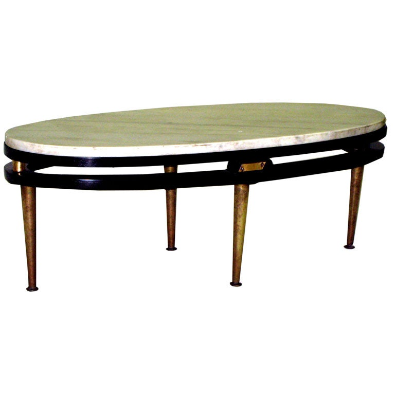 French Oval Coffee Table: French Cantilevered Oval Cocktail Table At 1stdibs