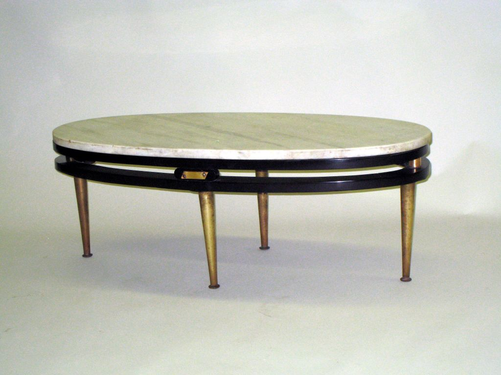 French Cantilevered Oval Cocktail Table 5