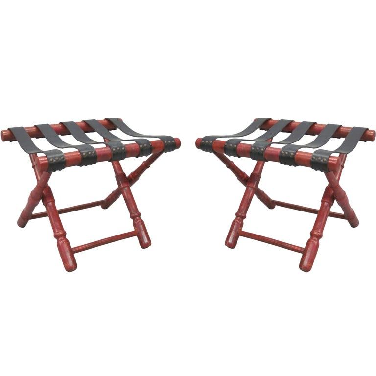 French Forties Pair Of Stools Benches Luggage Racks At 1stdibs